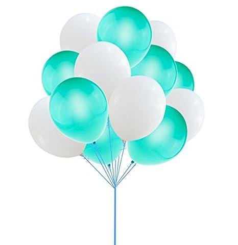 100 pcs licht, blau - weiße luftballons, Aiernuo 12 inch hochzeit geburtstagsparty veranstaltung dick latex ausgewählte farbe (Pink Ribbon Wrap)