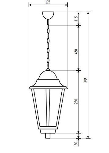 Rustikale Hängeleuchte in schwarz inkl. 1x 12W E27 LED 230V Pendelleuchte aus Aluminium & Glas Hängelampe für Garten/Terrasse Weg Terrasse Lampe Leuchten Beleuchtung außen - 2