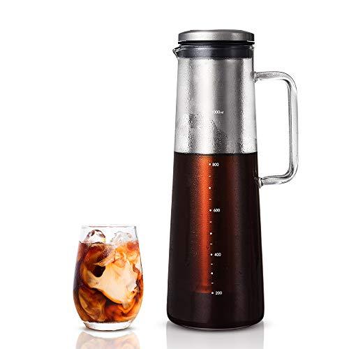 soulhand Cold Brew Kaffeemaschine, Ice Kaffeemaschine-40oz / 1200 ML Borosilikatglas Hot & Cold Tee Brauen Cold Brew System mit Herausnehmbaren Filter für Home Office Iced Kaffee und Tee -