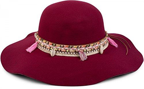 styleBREAKER Floppy Hut im coolen Boho Style mit bunter Webborte, Quaste und Muschel Anhänger, Damen 04025017, Farbe:Bordeaux-Rot