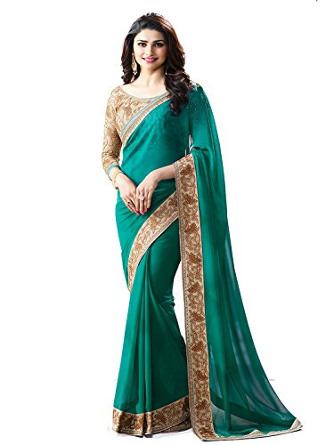 Vedant Vastram Women's Georgette Lace Border Work Saree With Embroidered Blouse Piece...