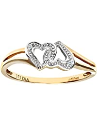 Naava Ladies 9ct Yellow Gold Diamond Hearts Ring