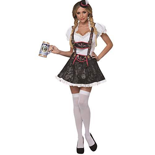 Leoie Damen Bayerisches Bier Garten Mädchen Kostüm Kellnerin Retro Mädchen Bayerische Bar Maid Kostüm Gr. Medium, Schwarz