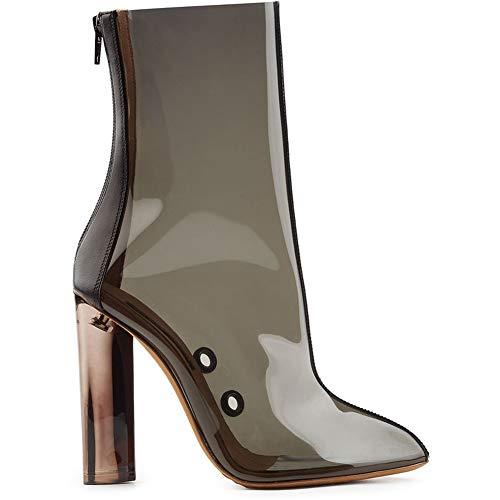 HN Boots Damen Stiefeletten Knöchel Stiefel Lässige Mode Blockabsatz Sandalen Schuhe Schwarz Transparentes PVC Reißverschluss Party Abend, Black