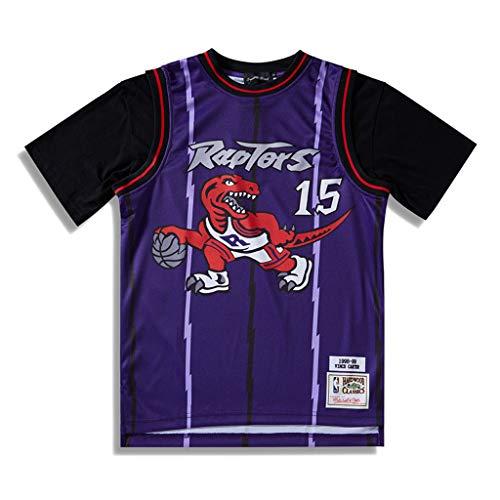 b1c006621a607 Toronto Raptors Casual T shirt à manches courtes, Homme Rétro Jersey Vince  Carter #15