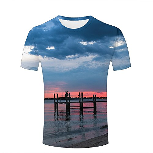 Men T-Shirt 3D Digital Pinted Dock On The Sea Crewneck Casual Tee Shirt Tops M (Box Dock Storage)