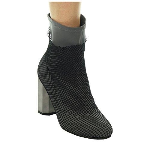 Angkorly - Chaussure Mode Bottine cavalier souple femme résille Talon haut bloc 9 CM Gris