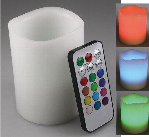 LED Echtwachs-Kerze RGB, ØxH 7,5x10cm