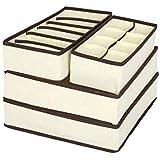 صندوق تخزين غير منسوج قابل للطي حاوية درج مقسم أغطية صناديق للعلاقات الجوارب حمالة الصدر منظم ملابس داخلية 4 قطع / المجموعة