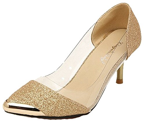 Aisun Women's Sexy Transparent Glitter Pointed Toe Mid Kitten Heel Slip on...