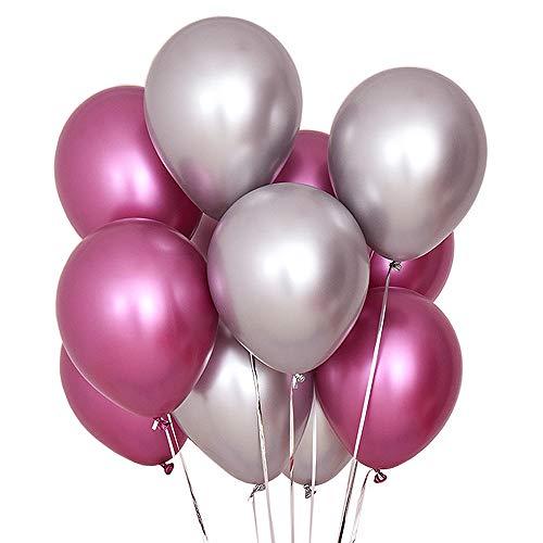 Juland 50 PCS Globos metalicos de Fiesta Globos de látex de Metal Brillante Perla 12 'Thick Pearly Chrome inflables de aleación de Aire para cumpleaños, Despedida de Soltera - Rosa Claro y Plata