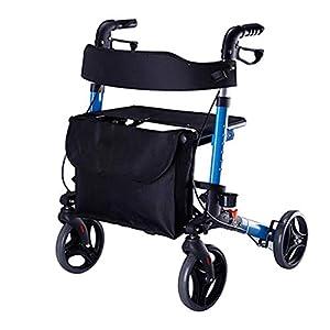 WZHWALKER Älterer Walker, Tragbarer Trage-Caster-Sitz-Hilfswanderer, Leichter Quad-Gehweg-Einkaufswagen
