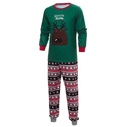 OverDose Damen Frohe Weihnachten Cartoon Bluse Hosen Familie Eltern-Kind-Pyjamas Nachtwäsche passende Weihnachten Home Party Soft Slim Set(Vater 1,EU-52/CN-XL )