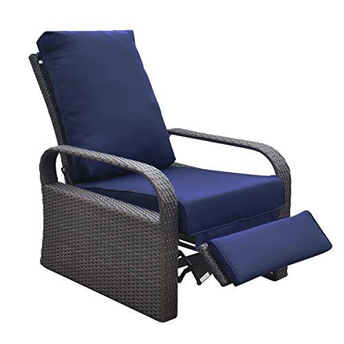 ART TO REAL Outdoor Kunstharz Geflecht Terrasse Liege Stuhl mit Kissen, Patio-Möbel Auto verstellbar Rattan Sofa, UV-/Verblassen/Wasser/Schweiß/Rost beständig, einfache Montage