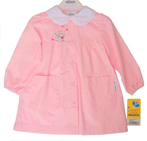 Siggi grembiule scuola materna asilo bimba bambina rosa colletto bianco 3-4 - 5 anni (3 anni - h. 98 cm.)