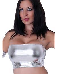 25069fc2ab4 Fantasystore B87 Silver Metallic Foil Lycra Boob Tube Mini Bra Top No  Support
