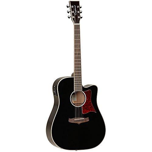 Tanglewood TW5Negro Guitarra Electroacústica Dreadnought Cutaway superior de cedro macizo con ecualizador