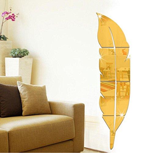 Wandtattoo Wandaufkleber Ronamick Abnehmbare Feder Spiegel Wandaufkleber Aufkleber Kunst PVC Haus Zimmer Dekoration DIY Sticker Wanddeko