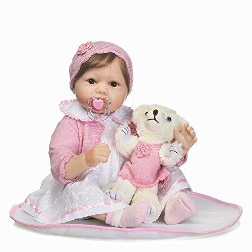 Nicery Reborn Baby Doll Renacer Bebé la Muñeca Vinilo Simulación Silicona Suave 22 pulgadas 55cm Boca Magnética Vívido Natural Niña Niño Juguete Boy Girl RD45C064UF