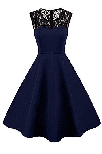 MisShow Robe Femme Vintage Rockabilly 40s 50s 60s Rétro sans Manche Mi Longue Au Genou Elégante Robe Femme Audrey Hepburn Swing Grande Taille Bleu Marine 2XL