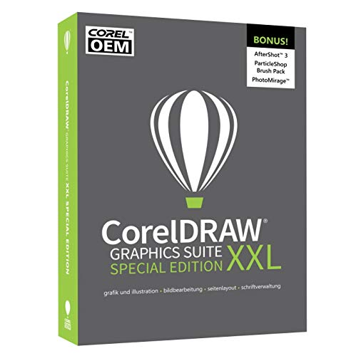 COREL CorelDRAW Graphics Suite XXL Special Edition OEM (Edition 2019) in DEUTSCH mit dem SE-XXL-BONUS-Pack inkl. AfterShot 3 / BenVista PhotoZoom Pro 4 / ParticleShop BrushPack / PhotoMirage #DVD-Box