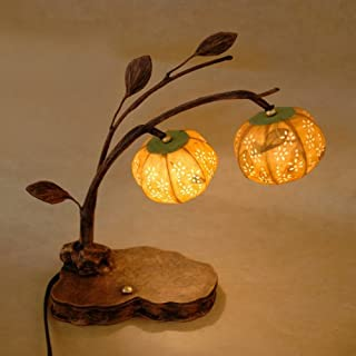 Mulberry Rice Paper Ball Handmade Yellow Bellflower Design Art Shade Round Globe Lantern Brown Asian Oriental Decorative Bedside Accent Unique Home Decor Table Desk Lamp