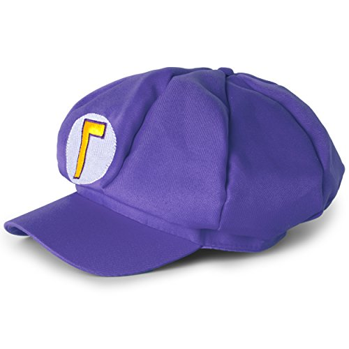 Katara Super Mario Cappello Berretto Viola Waluigi Bambini e Adulti - Accessori Costume Carnevale Video giochi