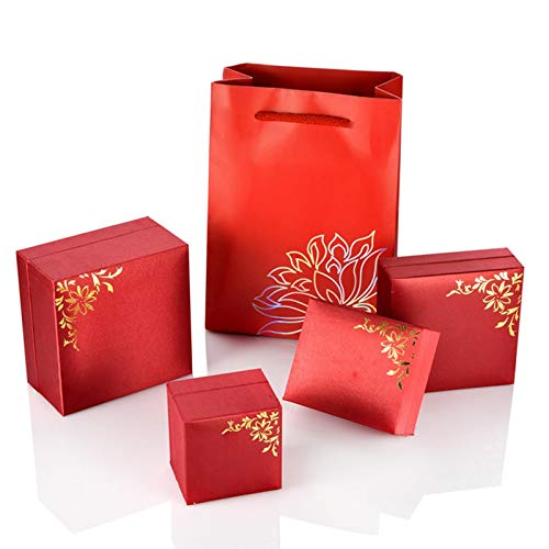 Epinki Schmuckkasten Groß Armband Box Rot Blumen Schmuckkästchen Schmuckschatulle - Rot Blumen