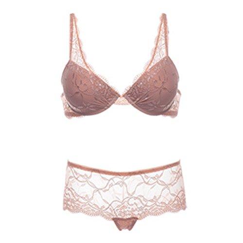 Zhhlinyuan Ladies Lace Embroidered Sexy Lingerie Sets Push-up Bra & Panties Unterwäsche Set Apricot