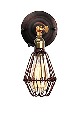 KLSD Modern Vintage Industrial Loft Metal Rustic Wall Scone Edison Screw Birdcage Wall Lamp, Adjustable Head with E27 Socket for House, Bar, Restaurant, Coffee Shop, Club Decoration