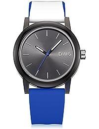 DWG Unisex Silicone Strap Couple Montre Quartz Sports Watch Casual Simple Style Silicone Strap Unisex Wristwatch Sports Montres-Black Dial (Bleu marine)
