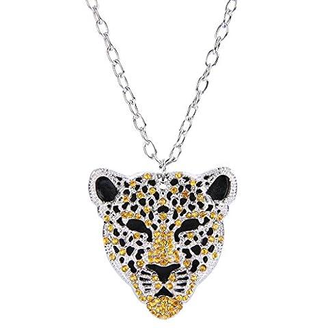 EVER FAITH® Women's Austrian Crystal Leopard Animal Pendant Necklace Brown w/ Clear Silver-Tone
