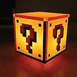 Super Mario signo de interrogación bloque Deko lámpara con sonido–Super Mario Bros. Decorar Luz, Luz decorativa Lámpara