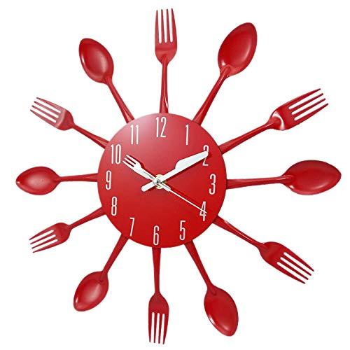 SODIAL Décorations pour La Maison sans Bruit en Acier Inoxydable Couverts Horloges Couteau Et Fourchette Cuillère Horloge Murale Cuisine Restaurant Décor à La Maison Rouge