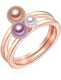Valero Pearls - Bague - Perles de culture d'eau douce - Argent sterling 925 (dorée rose) - Bijoux de perles - Bijoux pour femmes - En plusieurs tailles, bijoux en argent - 60925022