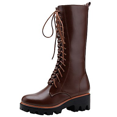 Women's Boots Reiten Mode Motorrad Stiefel Springerstiefel Leder Ferse Knie hoch Herbst Winter Schuhe, Braun, Us8.5/EU39/UK6.5/CN 40