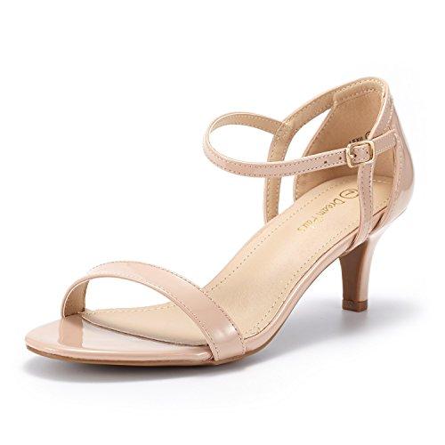 DREAM PAIRS LEXII Damen Sandalen mit Mode Stilettos Offene Zehen Ferse Licht Pink Lackleder 40.5 EU (Blush Pink Kleid Schuhe)