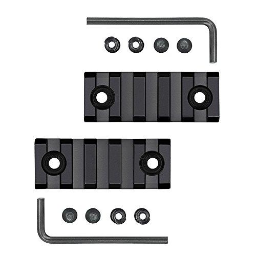 Airsson 2-Stück 5 Slots Picanntyschiene Weaverschiene Keymod Rails mit Befestungsschrauben Beigefügten Gewehr Vorderschaft Zweibein Red-Dots Visier Taschenlampe für Airsoft Jagd (Rail-taschenlampe)