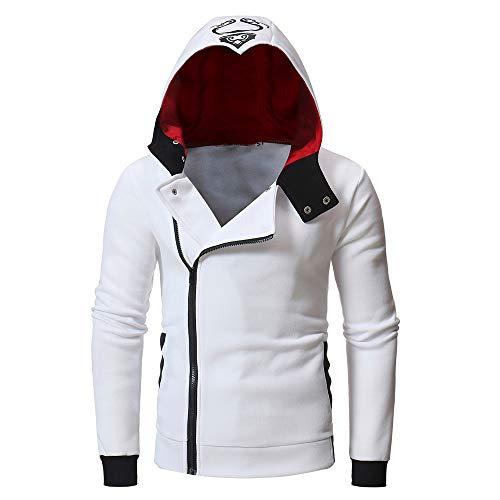 KPILP Sweatshirt Herren Kapuzenpullover Stilvolle Strickjacke Herbst Langarm Bedruckt Schlank Hoodie mit Kapuze Oberteile T-Shirt Outwear(Weiß, 3XL)