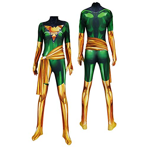 X Men Kostüm Girl - SHANGN X-Men Phoenix Girl Rollenspiele Kids Adult Movie Superheld Cosplay Kostüm | Halloween Spandex Dress Up Bodysuit,AdultGreen-L