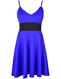 Oops Outlet Womens Ladies Contrast Waist Panel Bandeau Bralet Strappy Swing Flared Franki Sleeveless Mini Skater Dress Plus Size UK 8-26