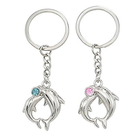Liebhaber Delphin-Anhänger Silber Ton Schlüsselanhänger Schlüsselanhänger