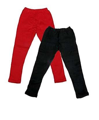 Indistar Girls Combo Pack(Pack of 2 Full Ankle Length Wollen Warm Leggings and 2 3/4 Leggings /Capri)_Red::Black::Blue::Green_6-7 Year
