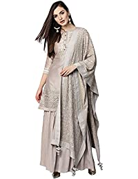 AKHILAM Women's Pure Silk Embroidered Unstitched Salwar Suits Salwar Suit Material With Palazzo Set (Grey_Free Size)