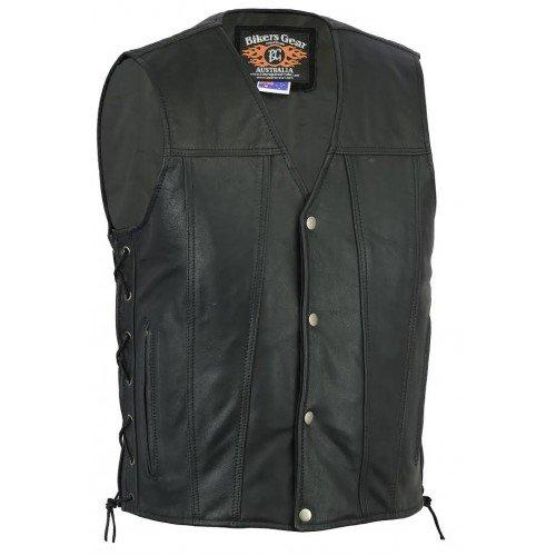 Bikers Gear Australia Limited Premium 1.3mm morbido Harley Style gilet in pelle di vacchetta con laccio regolabile lati e tasche, nero, taglia XL