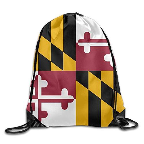 uykjuykj Tunnelzug Rucksäcke, Flag of Maryland Gym Drawstring Bags Travel Backpack Tote School Rucksack Lightweight Unique 17x14 IN -