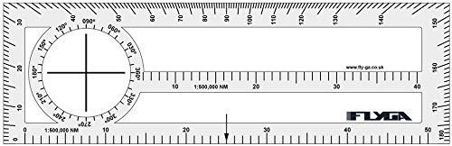 FlyGA Doppelseitig Zeitvertreib Lineal (Nautische Meile Navigation Plotter)-Für PPL (A), lapl, PPL (H) & CPL Aviation Piloten