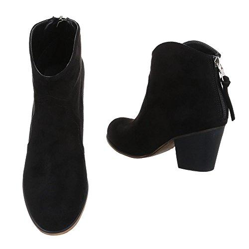 Damen Schuhe, KA508-1SL, STIEFELETTEN BOOTS Schwarz
