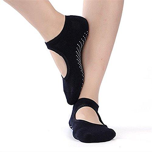 QEES Yoga Socken Anti-Rutsch Aus Baumwolle Tanz Sport aller Art für Frau Damen Socken für Kampfsport Gym Socke mit Gummipunkte gegen Rutsch WZ01 (Schwarz) (Sport-socke Alle)