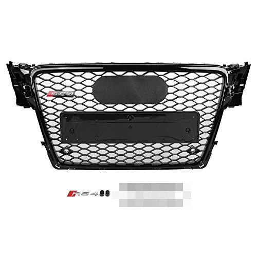 Preisvergleich Produktbild Wabengrill Kühlergrill Frontgrill für RS4 Style Vorderseite Sport Hex Mesh Honeycomb Kühlergrill Gloss Schwarz für A4 / S4 B8 2009-2012